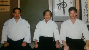 Peter Lindsay (R) with Abe Sensei (M)